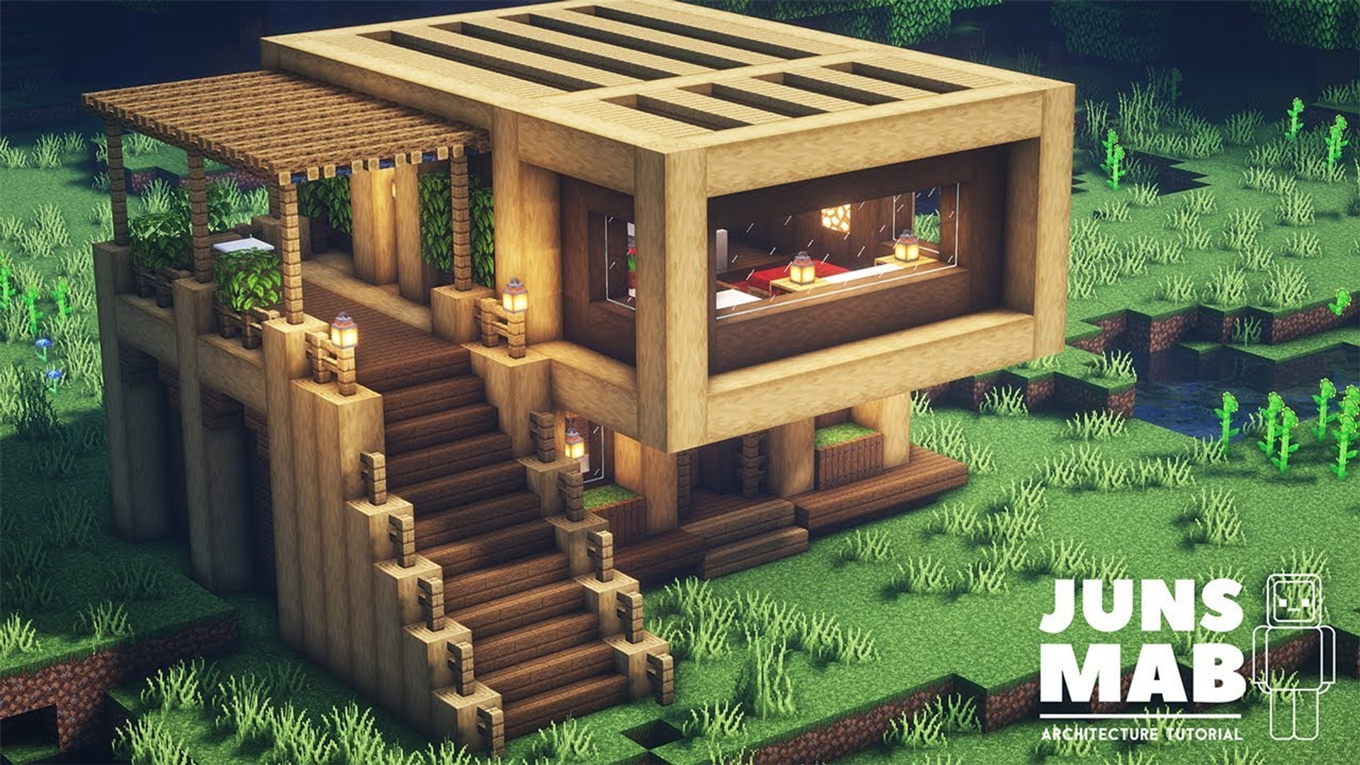 Minecraft- How to Build a Wooden House - Easy Survival House Tutorial #10