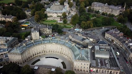Stunning drone footage shows the newly-restored Buxton Crescent from hundreds of metres up in the sky - by Rod Kirkpatrick