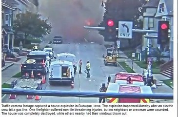 Traffic camera captures moment house is destroyed in massive explosion after electric crews hit a gas line in Iowa