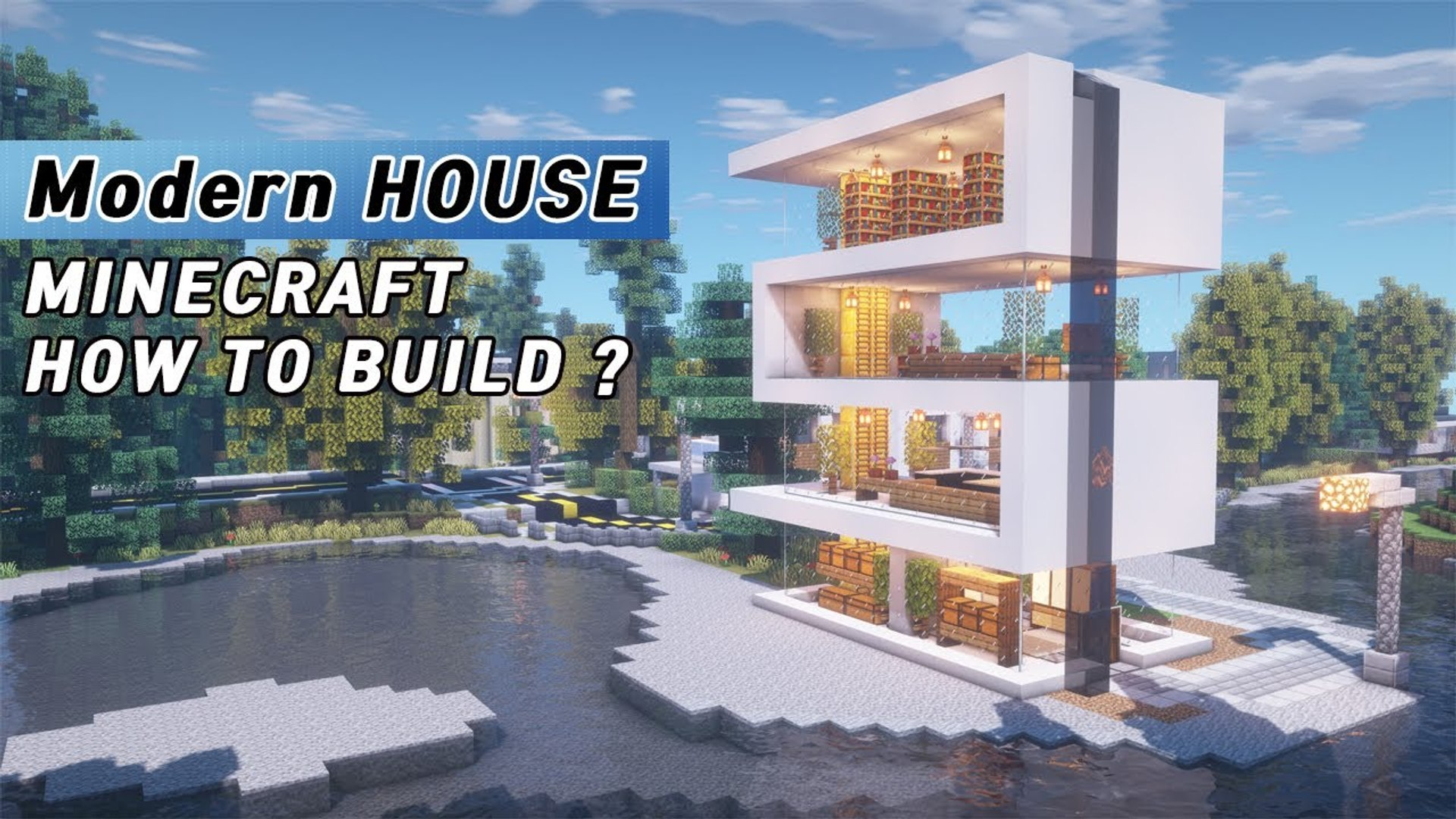 Minecraft Modern Water House Tutorial - How to build a house on the water  in Minecraft #12