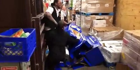 Lad messing around and jumping onto on things at work VID ID - VIDID