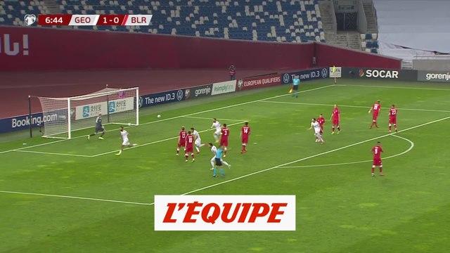 Le but de Géorgie - Biélorussie - Foot - Euro - Barrages