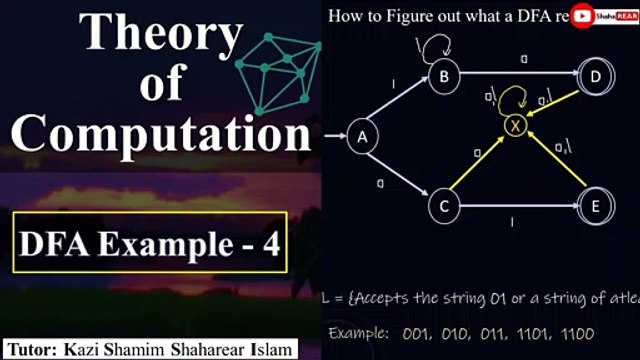 Theory of computation Bangla Tutorial: Figure out what a DFA Recognizes |  ডিটারমিনিস্টিক ফাইনাইট অটোমেশন উদাহরণ - থিওরি অফ কম্পিউটেশন টিউটোরিয়াল