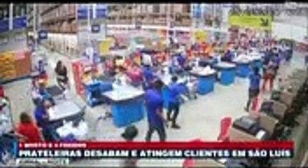 Des étagères tombent dans un super marché au Brésil !