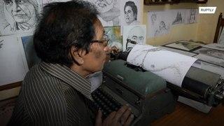 الهند: رسم الوجوه باستخدام الآلة الكاتبة!!!