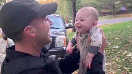 Heroic officer rescues choking baby
