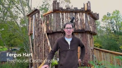Twenty two year old Fergus Hart has built a Treehouse Castle in Scotland during lockdown