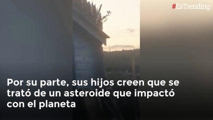 En video quedó registrado un extraño objeto en llamas cayendo desde el cielo