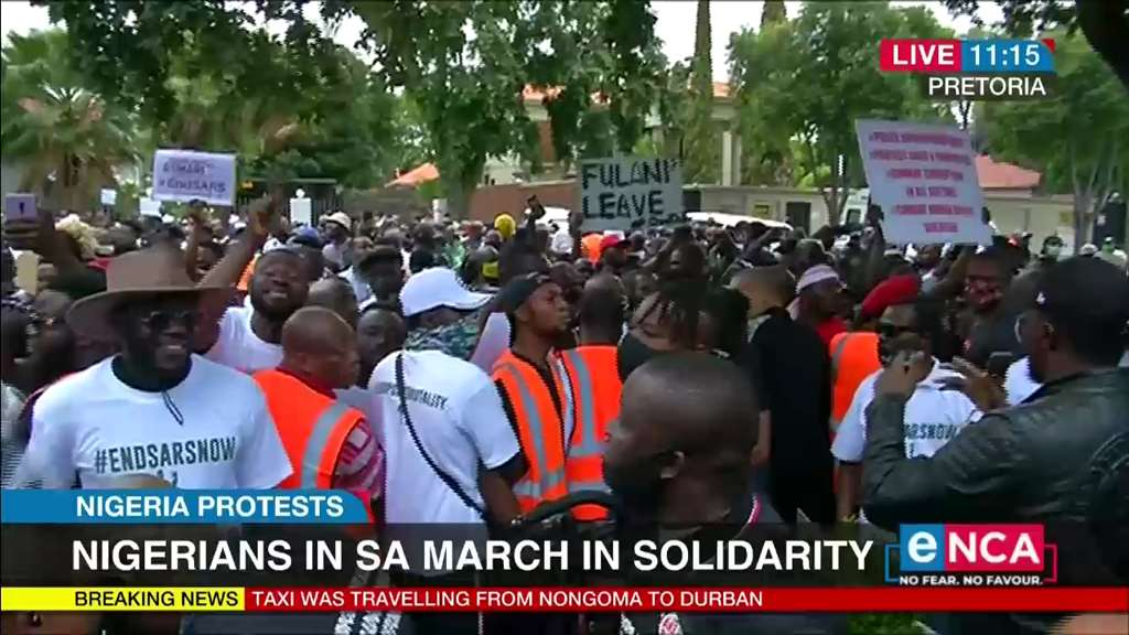 Nigerians in SA protest in solidarity against SARS