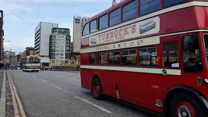 Glasgow saw some colour added to its streets thanks to a vintage bus parade which ran through the city centre.