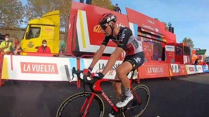Tim Wellens celebrates Vuelta a España win