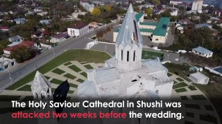 Armenian couple gets married at a shelled cathedral