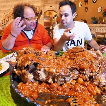 EXTREME Food in Iran!! Whole DINOSAUR LAMB PLATTER!!! + NEVER SEEN Village COOKING of Iran!