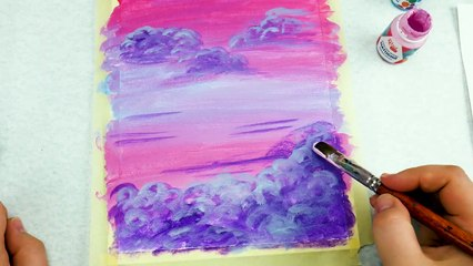 Easy Art Painting _ Pink Sky _ Acrylic _ Satisfying Painting Acrylics
