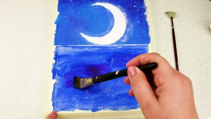 Moonlihgt Landscape Acrylic Painting on Canvas Step by Step|Satisfying