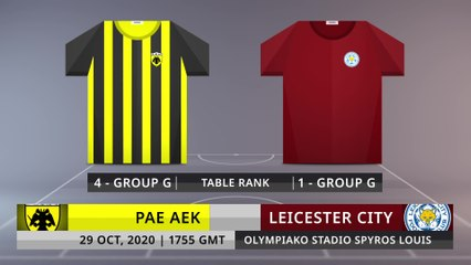 Match Preview: PAE AEK vs Leicester City on 29/10/2020