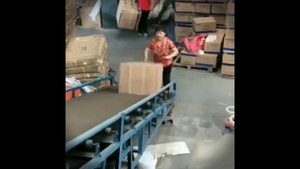 funny workers in warehouse an the guy who ruined fun
