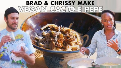 Brad and Chrissy Make Vegan Cacio e Pepe with Grilled Mushrooms
