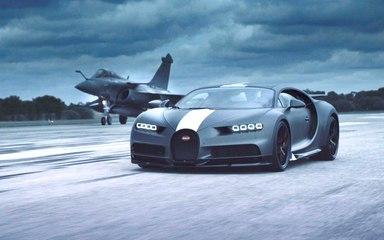 VÍDEO: un Bugatti Chiron Sport 'Les Légendes du Ciel' se enfrenta a un caza del ejército