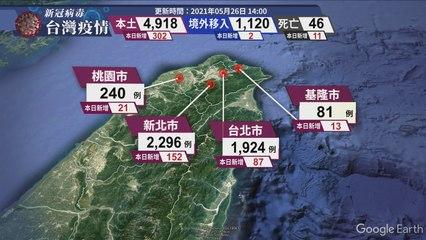 新冠病毒台灣疫情 更新時間 2021/05/26 14:00