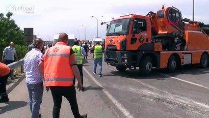 Samandıra TEM Otoyolu'nda TIR devrildi, yol trafiğe kapandı