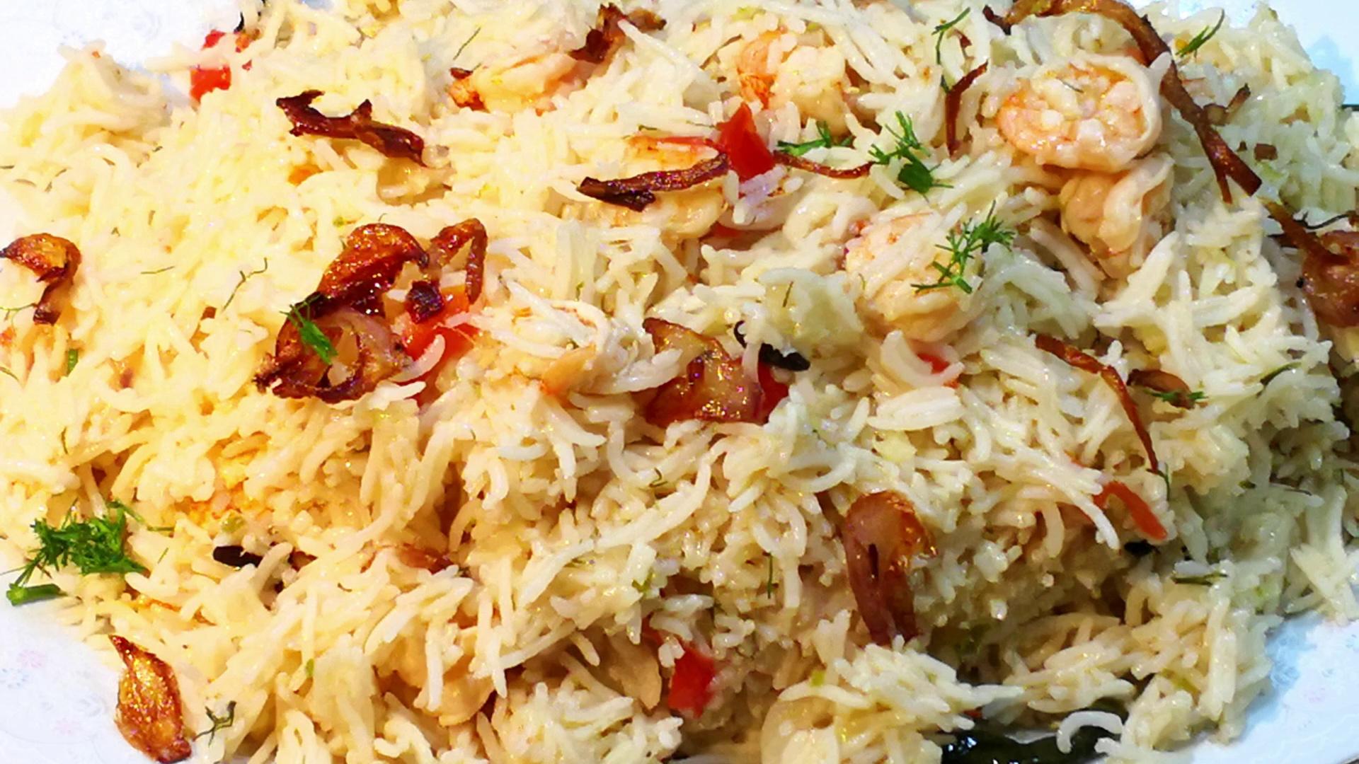 Prawns Rice Cooking-Prawns Pulao Masaledar-Prawns Pulao Shrimp Recipe-Shrimp Pulao Prawns Recipe