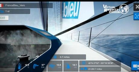 Le bateau France Bleu peu après le départ de la Virtual Regatta Vendée Globe