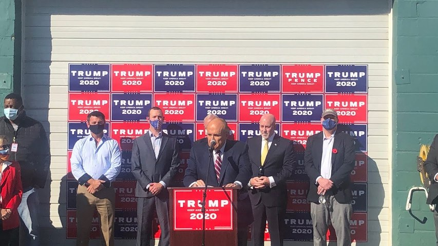 Giuliani holds press conference at landscaping business prompting