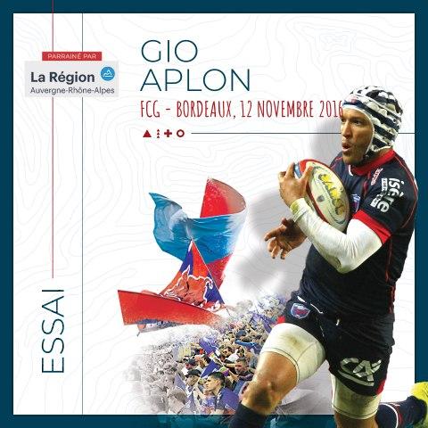 Rugby : Video - L'essai de Gio Aplon contre Bordeaux, saison 2016-2017
