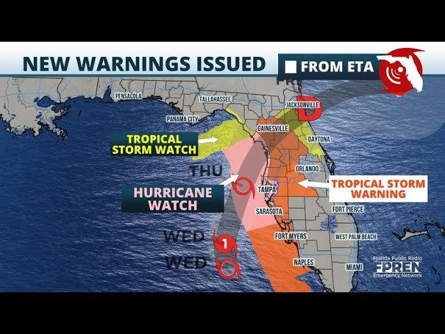 Eta Weakens To Tropical Storm; Surge Warnings Continue