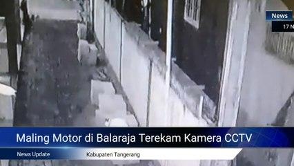 Maling Motor di Balaraja Tangerang Terekam Kamera CCTV