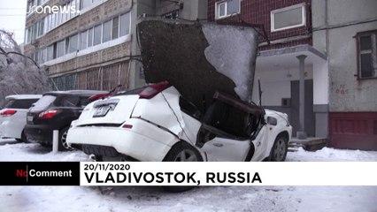 روسیه؛ برقراری وضعیت اضطراری در ولادیوستوک در پی وقوع طوفان و یخبندان