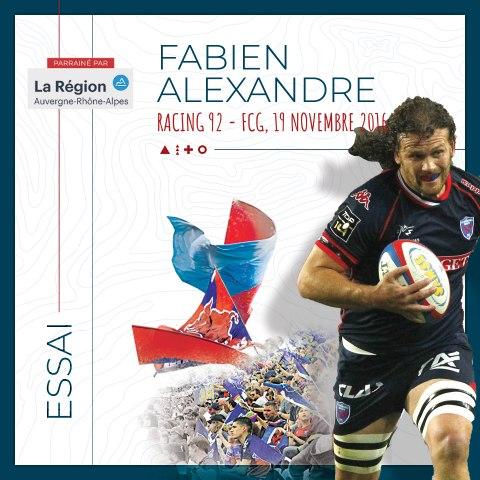 Rugby : Video - L'essai de Fabien Alexandre au Racing 92, saison 2016-2017