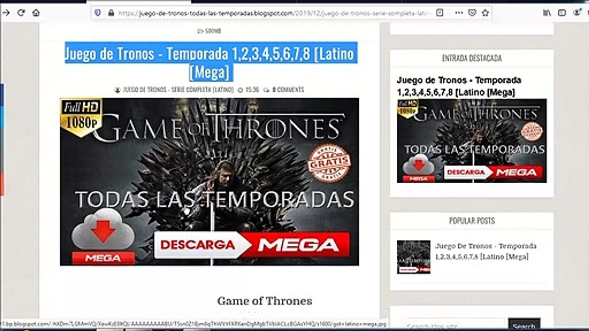 Juego De Tronos Temporada 1 2 3 4 5 6 7 8 Latino Mega Vídeo Dailymotion
