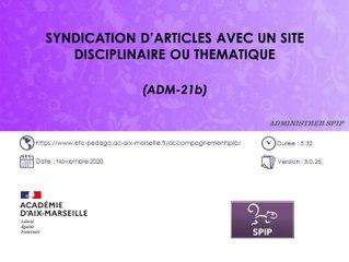 Syndication d'articles avec un site disciplinaire ou thématique