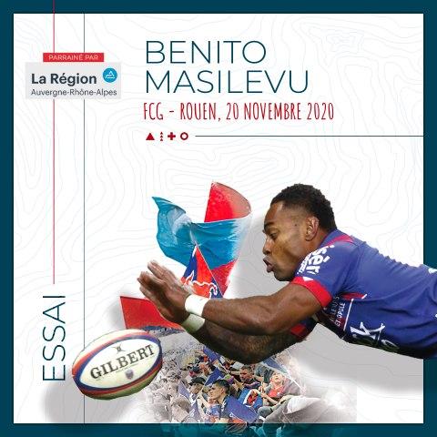 Rugby : Video - L'essai de Benito Masilevu contre Rouen, saison 2020-2021