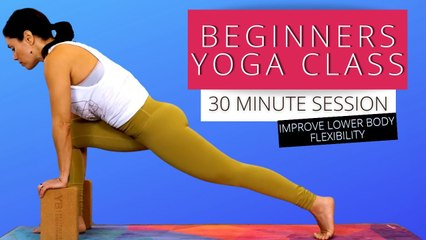 Beginners Yoga 30 Minute Class, Flexibility Stretches, Pyramid Pose & Standing Split, How To