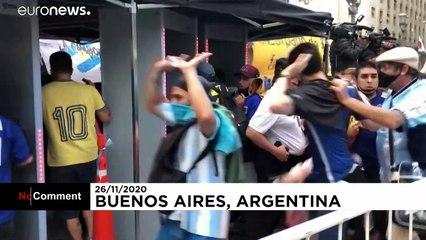 درگیری پلیس با انبوه جمعیتی از هواداران مارادونا در بوینس آیرس