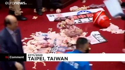 پارلمان تایوان؛ نمایندگان با پرتاب امعاء و احشاء خوک از هم پذیرایی کردند