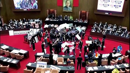Fists and pig guts fly in Taiwan parliament