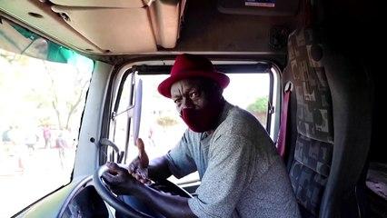 Drone shows miles of lorries at Kenya border