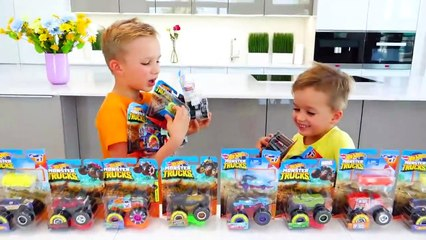 Vlad and Niki Collect Toy Cars - Hot Wheels Monster Trucks