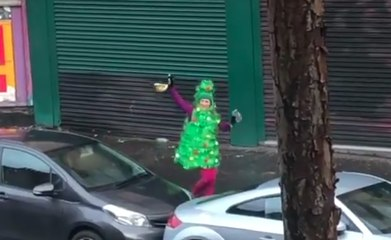 Kate Deeming dances along a Glasgow Street for charity