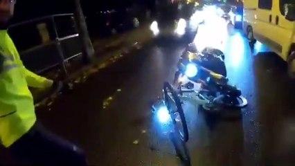 Un motard s'emporte et emboutit un cycliste