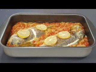 Peshk me qepë dhe domate në furrë nga zonja Vjollca