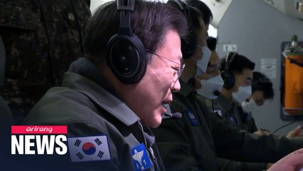 President Moon inspects country's defense readiness on board E-737 Peace Eye