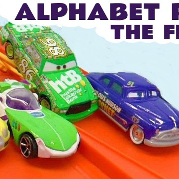 4 Lane Hot Wheels Alphabet Race Learn English with Disney Cars Lightning McQueen versus the Funny Funlings in this Family Friendly Funlings Race Full Episode English Video for Kids from Kid Friendly Family Channel Toy Trains 4U