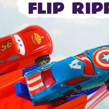 McQueen Flip Race Challenge with Hot Wheels and Disney Pixar Cars plus Marvel Avengers Superheroes in this Family Friendly Funny Funlings Race Full Episode from Kid Friendly Family Channel Toy Trains 4U