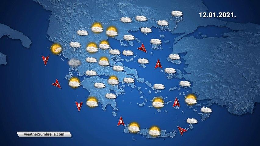 Η πρόγνωση του καιρού για την Τρίτη 12-01-2021