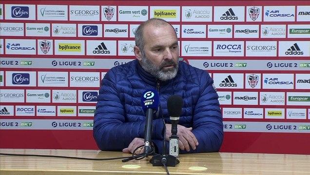 J20 Ligue 2 BKT : La réaction de P.Dupraz apreès AC Ajaccio 1-0 SMCaen